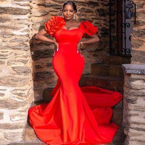 2021 Red Mermaid Evening Dresses with Handmade Flowers off Shoulder African Prom Dress Long Train Vestidos De Fiesta