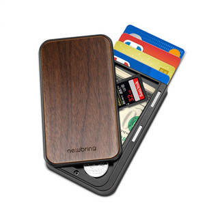 Hot Selling 2020 New-Bring Slide Credit Card Holder Novelty Wallet with wood cover Slim Front Pocket RFID Money Clip for Men