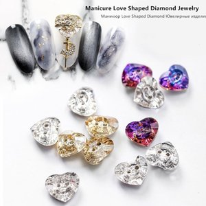 8 Pcs Nail Art Jewelry Net Red Love with Hole Shaped Diamond Japanese Love Button Nail Ornament