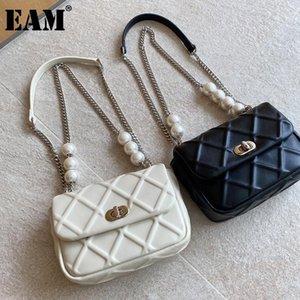 [EAM] Mujeres nuevas perlas Cadenas Argyle PU Cuero Flap PERSONALIDAD All-Match Crossbody Bolsa de hombro Moda Tide 2021 18A1460