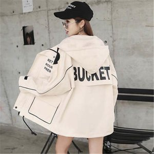 2020 Women Letter Printed Bomber Windbreaker Big Pocket Hooded Outerwear Spring Autumn Large Size Loose Casual Trench Coat X838