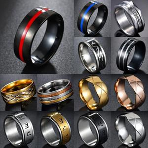 Memolissa mens sapador-bombeiro anel de aço inoxidável azul linha azul anel top qualidade vermelho linha anéis