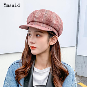 Beret Cap 2020 New Spring Autumn Hat Women Beret England Vintage Octagonal Newsboy Cap Ladies Plaid Artist Painter Hat