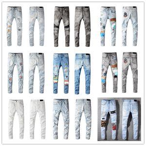 Hot Homme Mode Skinny Skinny Slim jeans déchirée Hommes Mode Mens Street Weanger Moto Biker Jean Homme Jeans Pantalons Taille 28-40