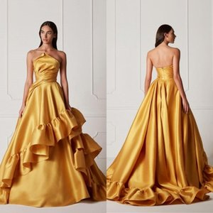 2021 New Satin Evening Dresses Multilayer Elegant Fairy Prom Dress Sweep Length Plus Size Evening Gowns