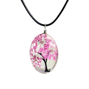 Fashion Dried Flower Glass Ball Women Necklace Pendant for Women Leather Chain Boho Long Statement Necklaces Summer Jewelry