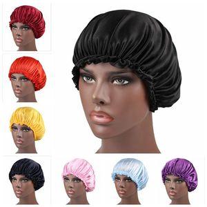 Seide Spitze Duschkappe Frauen Monochrome Nightcap Lace Haarpflege Hut Satin Schlafkappe Haar Schönheit Elastische Badekappen DWA2474