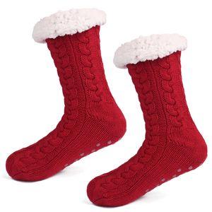 3D rayures hiver longues chaussettes de pantoufle en vrac femmes femmes antislampper chaude en molleton chaude lambris anti-glissement chunky chunky chaussettes GWA3040