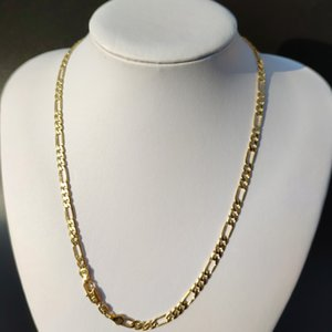 10 K Solid Yellow Gold GF Figaro Link Chain Pendant Necklace Women's 500MM 5mm