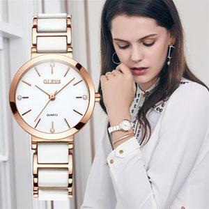 OLEVS NUEVO Rosa Oro Mujeres Negocio Cuarzo Cuarzo Top Marca Lujo Muñequera Reloj Reloj Relogio Feminin 201218