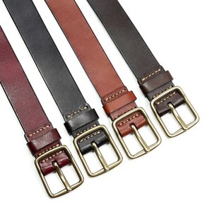 Luxury genuine leather belt men vintage leather belts men's jeans strap black color wide strapping waistband brown thong ADQW 201124