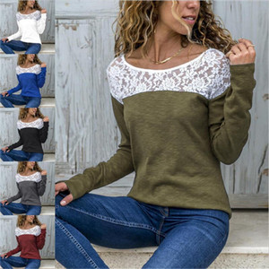 Lace Womens Tshirts Plus Size Patchwork Long Sleeve Pullover Women Top Casual O Neck Female Tees
