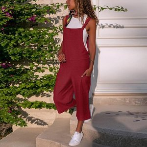 New Arrival women bodysuit Sleeveless Dungarees Loose Cotton Linen Long Playsuit Party jumpsuits for women 2020 BY35