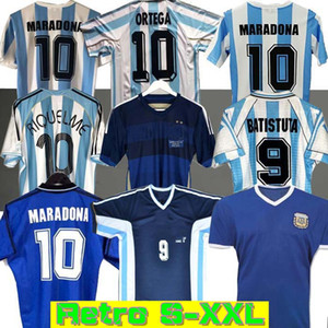 Retro 1986 Argentina Soccer Jersey Messi Maradona Caniggia 1978 1996 Camisa de Fútbol Batistuta 1998 Riquelme 2006 1994 Ortega Crespo 2014