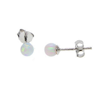 simple single stone opal ball delicate 4mm round stone daughter gift yong girl minimalist jewelry opal stud earring