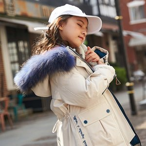 White Duck Down Jacket Real Fur New Girls Down Coat Toddler Winter Clothes 2020 Baby Thicken Jacket Long Style Outfit Warm,#5689 Q1123