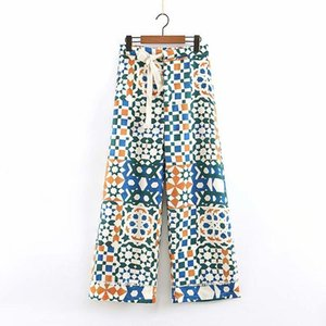 Newest women stylish geometric print straight ankle length pants pleated elastic waist tie button design trousers