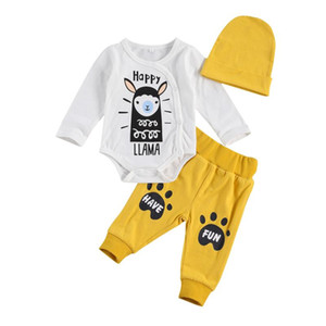 Baby Girls Boys Letter Print Clothes Set Long Sleeve Jumpsuit Cartoon Animal Patterns + Elastic Waist Pants + Hat