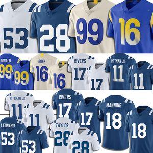 99 Aaron Donald Jersey Los 16 Jared Goff 17 Philip Rivers Jerseys Football 18 Peyton Manning Angeles Michael Pittman Jr Jonathan Taylor Men
