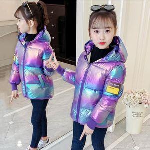 Girls Bright Shiny Thick Down Cotton Colorful Bread Coat Snowsuit Coats Big Children Warm Kids Autumn Winter Down Jacket 201118