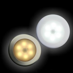 Feuille murale de couloir LED corps humain induction Intelligent détection de lampes de détection circulaires couleurs blanches et jaunes facile à installer Nouveau 8 5jx N2