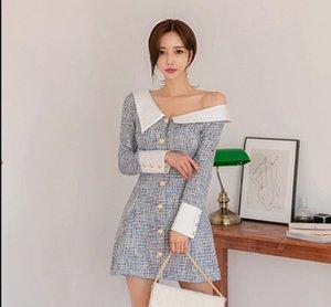 2021 Сексуальная весна Новый Маленький Ароматный Платье Tweed Женщины Мода Хит Цвет С Длинным Рукавом Однобортное Элегантное Сексуальное Официальное Платье