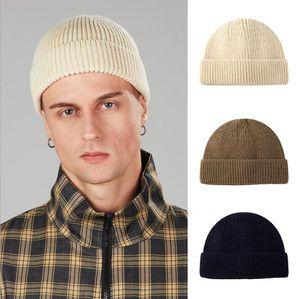 Winter Knit Hat New Design Men'S Beanies Short Skullcap Outdoor Ski Bonnet Unisex Solid Color Beanie Hat Brimless Hip Hop Hats