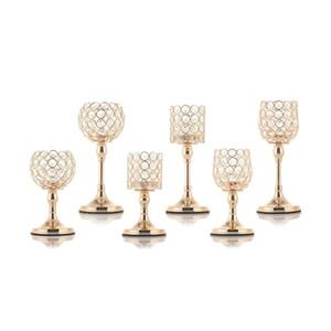 Pilar de vidro Tealight Candle Candle Candlesticks Tabela Stands Decoração de Casamento para Casa Housewarming Present Y200109