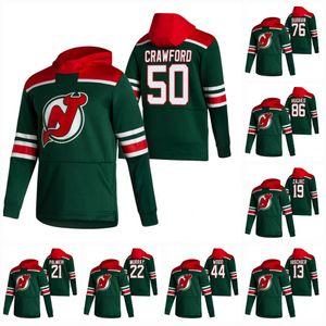 Womens Jack Hughes New Jersey Devils 2021 Retra Retro Hoodie Jersey Corey Crawford Gusev P.K. Subban Hayden Hischier Schneider Palmieri