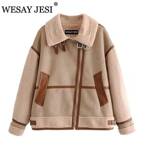 Wesay Jesi Mulheres New Khaki Patchwork Camurça Lambswool Biker Casacos Casaco Chic Lote Peles Faux Leather Top Oversize Overcoat