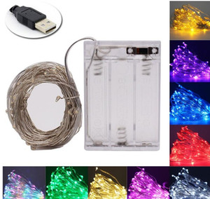 Fairy light string USB battery powered waterproof 2M 5M 10M 20 100 leds string silver line firefly holiday light strip