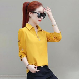 Women Spring Summer Style Chiffon Blouse Shirts Lady Casual Long Sleeve Turn down Collar Embroidery Blusas Tops DF3180