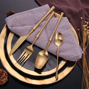 2019 24 Piece Forks Knives Spoons Dinnerware Tableware Portable Golden Cutlery Set Silverware fork spoon Y1119