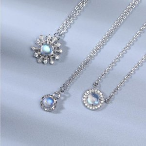 blue sterling 925 silver moonstone jewelry manufacturer freeze snowflake cat stars semi precious stone jewelry necklace