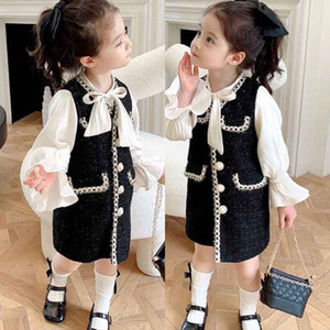 Atacado Ins Kids Girls Princess Patchwork Dress New Fashion Festa Trajes Kids Bowtie Casual Outfits Bebê Adorável Ternos para 2 7Y