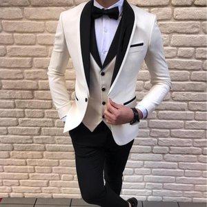 Último abrigo diseños de pantalones blancos Trajes para hombres para hombre de boda Hombres Groom Blazer TUXEDO SLIM FIT SOSTUSE VER HOMMAS TERNO MASCULINO1
