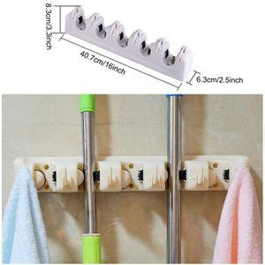 Wholesale Household Mop Brush Hanger Multifunction Kitchen Organizer Mop Holder Rack Kitchen Gadgets Brush Broom Storage Gadgets DHD3385