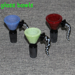 14mm 18mm glass bowl Male Joint for glass bongs Handle Beautiful Slide bowl piece smoking accessories For silicone bongs water pipes