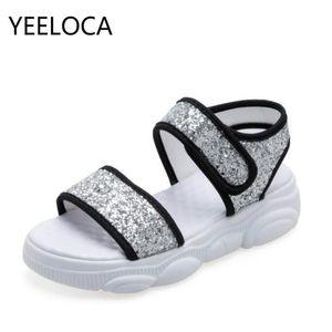 YEELOCA Women Sandals Sequined Cloth Flats Wedge Platform Beach Sandals Women Fish Mouth Ladies Gladiator Shoes