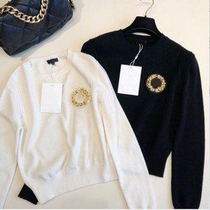 2020 Otoño Invierno Nuevo Golden Emblem Pearl Pearl Cuello redondo Suéter de alta calidad Blusa para mujeres (envío gratis)
