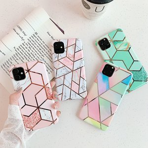 Plating Line Geometric Phone Case For iPhone 11 Pro Max XR XS Max 6 6S 7 8 Plus X Soft Marble Cover Cases