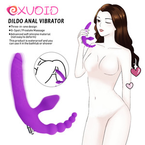 Exvaid Dildo Anal Vibrator Juguetes sexuales para mujeres lesbianas Silicona Prostate Massage Productos adultos Beads Anal Butt Plug Vibrador