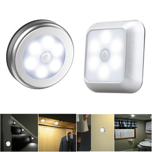 6 LED Night Light Bateria Powered Motion Sensor Light Step Stair Closet Luz Para Home Cozinha Corredor Armário Armário Banheiro HWD4796