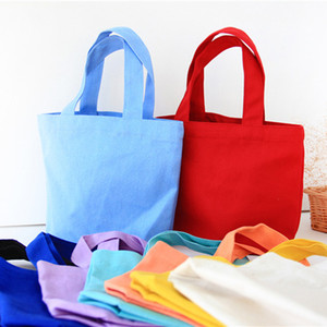 Colorful cotton canvas Food bag Lunch Reusable Tote pouch Cosmetic Bag Wedding gift bag Factory wholesale DHD3274