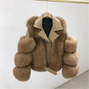 Marka 2020 Lüks Kürk Kış Ceket Kadın Doğal Kürk Hakiki Deri Lokomotif Giyim Streetwear Kalın Sıcak