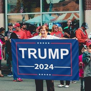 Blue Trump Flag 2024 شنقا 90 * 150 سنتيمتر ترامب تبقي أمريكا لافتات كبيرة 3x5ft 2024 ترامب الانتخابات العلم XD24219