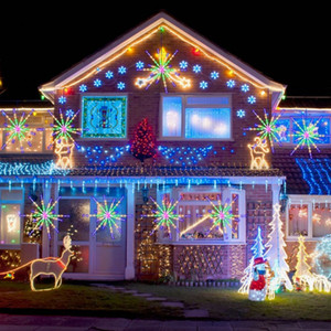New LED Fireworks Light Christmas Tree Hanging Starburst Lamp Colorful Change 20pcs Branches Christmas Home Festival Decor