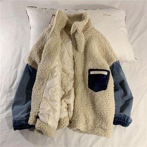 Winter Lamb Fur Jacket Men's Warm Fashion Retro Denim Stitching Stand Collar Coat Men Loose Korean Short Coat Mens Clothes M-XL