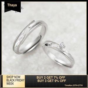 Thaya Thaya Karşı Şans Tasarım Yüzükler Yüksek Kalite S925 Ayar Gümüş Takı Çift Yüzük Düğün Nişan Hediye için Y1124