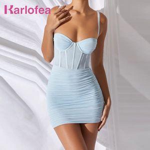 Karlofea Donne Mesh Bustier Bustier Dress Ruched Dress Summer Basic Semplice Sundress Elegante Nightclub Party Wear Abiti per vacanze Vestidos Nuovo T200707